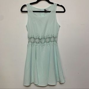 H&M Mint Sleeveless Dress w/ Crochet Lace Waist